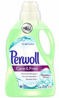 Купить Гель для стирки с мицеллярной водой для чувствительной кожи и аллергиков Perwoll care and free 1,5 л Германия в Москве