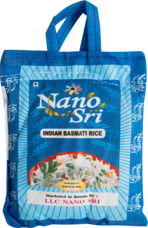 Рис Нано Шри Басмати, 1 кг (в синем мешке) (Nano Sri Indian Basmati Raw Rice)