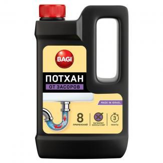 Bagi ПОТХАН гранулированное средство для удаления засоров раковин, ванн, канализационных труб 600 мл.
