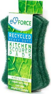 ЭКОФОРС Кухонные губки зеленые для сильных загрязнений 95х127х7 мм,3 шт