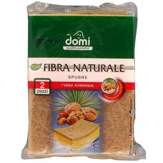 DOMI Губки кухонные натуральная фибра, 2 шт