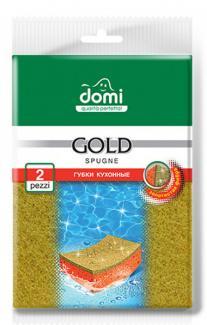 DOMI Губки кухонные золото Gold, 2 шт